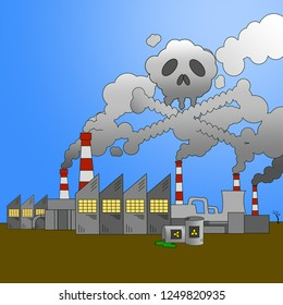 Industrial pollution cartoon