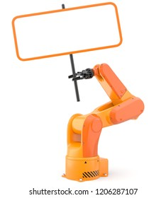 Industrial robot arm with blank sign. 3D illustration