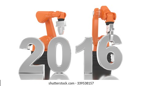 Industrial robotic arm building 2016 year on white background