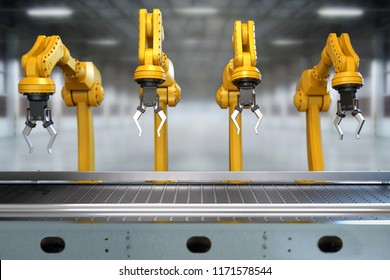 Industrial robotic arm with empty conveyor belt 3D rendering