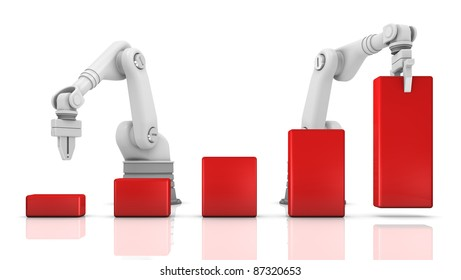 Industrial robotic arms building chart on white background
