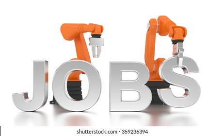 Industrial robotic arms building JOBS word on white background