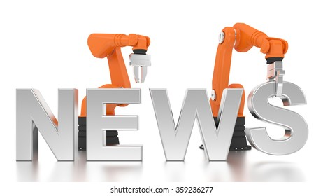 Industrial robotic arms building NEWS word on white background
