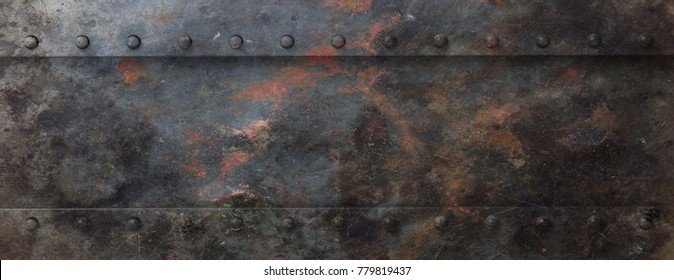 Industrial rusty black metal plate with bolts background, banner. 3d illustration