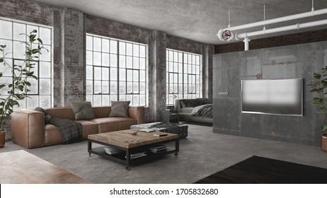 Interior de estilo industrial de moderno loft de espacio abierto - 3 d de renderizado