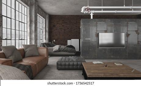 Interior de estilo industrial de moderno espacio abierto loft apartamento - sala de estar mirando al dormitorio - 3 d de renderización