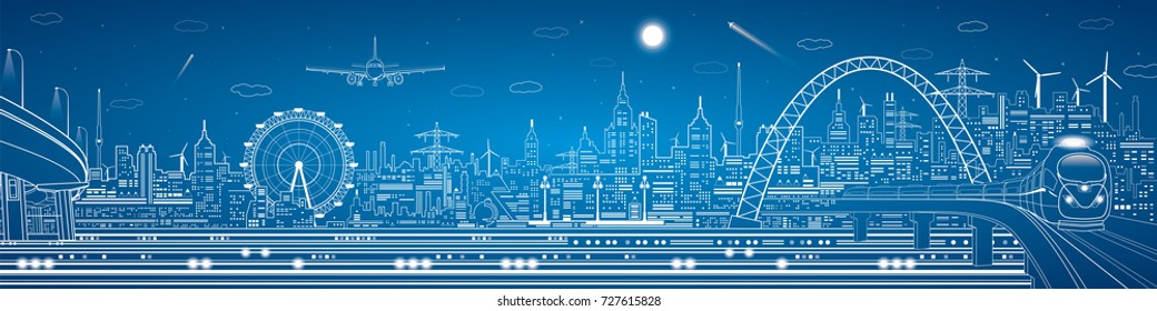Industrial and transport panorama, urban skyline, white lines landscape, night city, airplane fly, train on the bridge, design art
