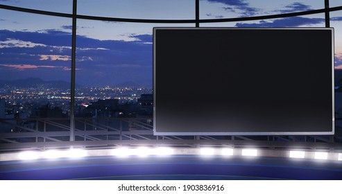 Industrial TV show backdrop with an empty screen. Ideal for virtual tracking system sets, with green screen. (3D rendering)