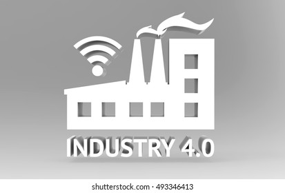 Industrial4.0 Cyber Physical Systems concept, Text and icon of industry 4.0 on gray base , 3D illustration