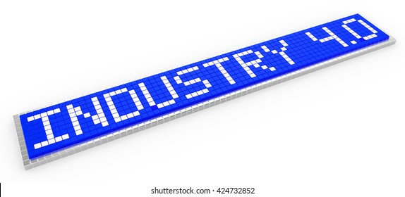 Industry 4.0 3D illustration blue sign composed of little cubes pixel design on white