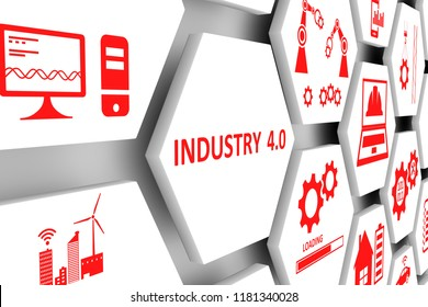 INDUSTRY 4.0 concept cell background 3d illustration