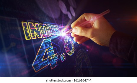 Industry 4.0 sign project creating. Abstract concept of innovation, cyber technology, business, automate factory and robotic production 3d illustration. Drawing digital scheme of futuristic idea.