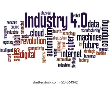 Industry 4.0, word cloud concept on white background.