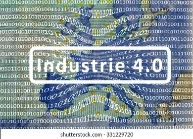 Industry 4.0: The working world of the future - About the map of Europe is a film with digital encoding. Central inscription: industry 4.0. German version.