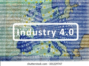 Industry 4.0: The working world of the future - About the map of Europe is a film with digital encoding. Central inscription: industry 4.0.