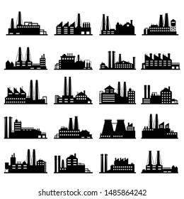 Industry business buildings. Industrial warehouse, manufacturing factory and factories exterior silhouettes. Plant building architecture or factory construction. Isolated illustration icons set