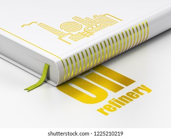 Industry concept: closed book with Gold Oil And Gas Indusry icon and text Oil Refinery on floor, white background, 3D rendering