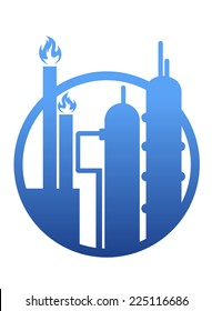 Industry icon showing a factory or petrochemical refinery plant with chimneys belching smoke and flames and stylized storage tanks in a circular frame