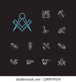 Industry icons set. Hand saw and industry icons with pick axe, concrete mixer and utility knife. Set of sawing for web app logo UI design.