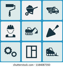 Industry icons set with wall painter, wheelbarrow, trowel and other tractor elements. Isolated  illustration industry icons.