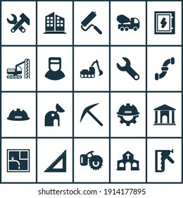 Industry icons set with wrench, concrete mixer, electrical board and other triangle ruler elements. Isolated illustration industry icons.