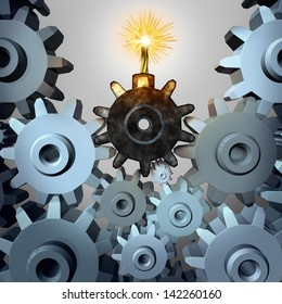Industry time bomb and financial bubble business concept and metaphor as a group of cogs and gear wheels with one cog shaped as an exploding device as a symbol of investing danger and inherent risk.