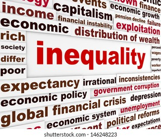 Inequality creative words concept. Discrimination message conceptual design