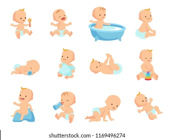 Infant newborn baby big set in different activity isolated on white. Child and infant, boy and girl little baby. illustration