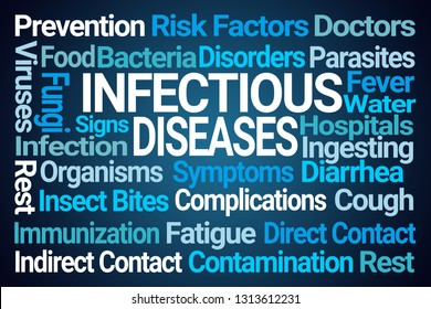 Infectious Diseases Word Cloud on Blue Background