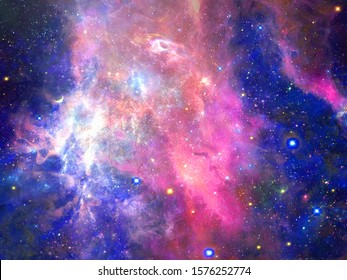 Infinite beautiful cosmos dark blue and pink background with nebula, cluster of stars in outer space. Beauty of endless Universe filled stars.Cosmic art, science fiction wallpaper