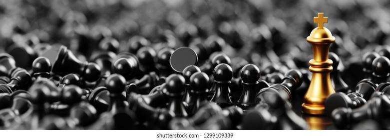 Unendlicher Schachhintergrund, originelles 3D-Rendering. Führungs- und Rollenmodellkonzepte