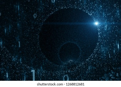 Infinite computer cyberspace network with binary numbers and flare of light. Illustration background. Selective focus used.