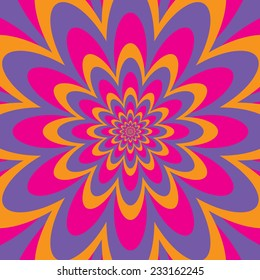 Infinite Flower op art design in pink, purple and yellow.