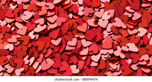 Infinite hearts background: love, passion and Valentine Day theme. 3d rendering, horizontal banner size
