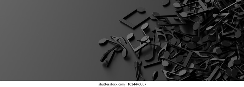 Infinite musical notes, art and music 3d rendering conceptual background