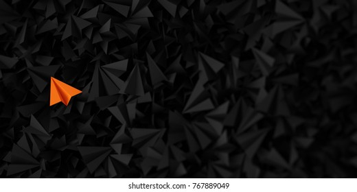 Infinite paper planes three dimensional rendering with one distinct and out from the crowd. 3D rendering