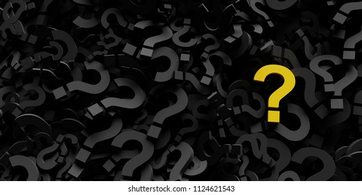 Infinite question marks with a distinct one, original 3d rendering illustration