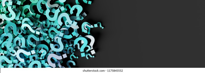 Infinite question marks, original 3d illustration