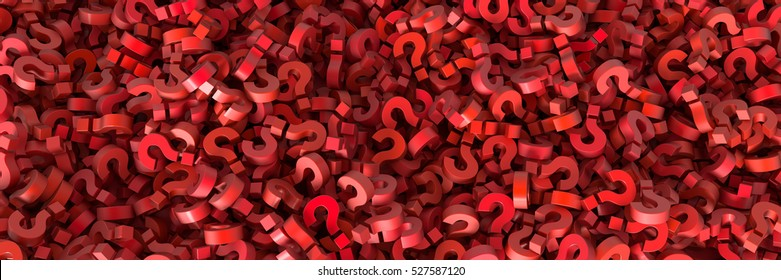Infinite question marks, original 3d illustration