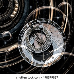 The infinite time is circulating in the universe, 3D illustration