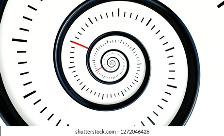 Infinite Time. Infinite rotating clock background. Black and white watch background