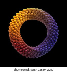 Infinite twisted rotating multi color torus loop made from spheres on black background. 3d illustration