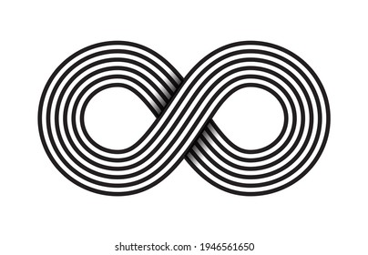 Infinity, moebius raster symbol, logo or limitless sign isolated on white background. Creative infinite or eternity endless icon