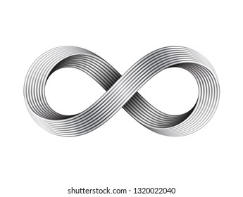 Infinity sign made of metal cables. Mobius strip symbol. 3D illustration isolated on white background.
