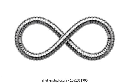 Infinity sign made of shower hose. Mobius strip symbol. Realistic illustration isolated on white background.