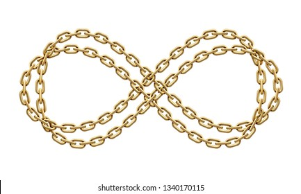 Infinity sign made of two intertwined golden chains. Mobius strip symbol. Realistic 3D illustration isolated on a white background.