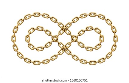 Infinity sign made of two twisted golden chains. Mobius strip symbol. Realistic illustration isolated on a white background.