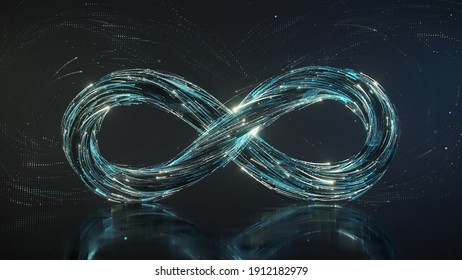 Infinity sign symbol of endless. 3D render illustration