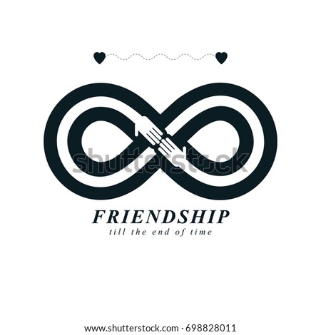 Infinity Sign Two Hands Touching Each Stock Illustration 698828011