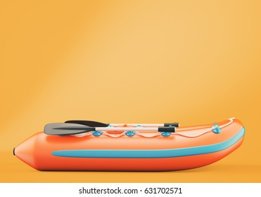 Inflatable boat on orange background. 3d rendering